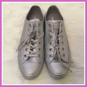 New Converse All Star Sneakers Silver Glitter 10
